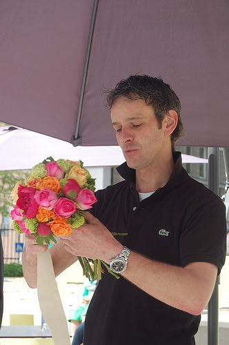 Male florist at work