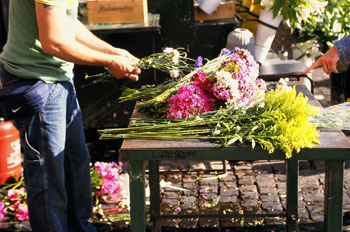Florist working at job